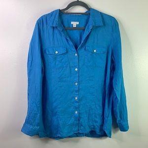 J JILL 100% Linen Blue Button Up Blouse M